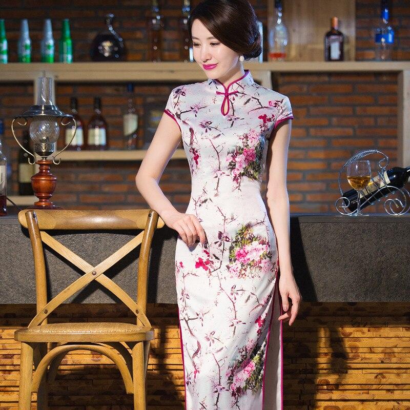 f390f635e Summer Short Sleeve Chinese Women's Long Satin Cheongsam Hot Sale Lady Sexy  Qipao Casual Floral Dress Size S M L XL XXL 020806