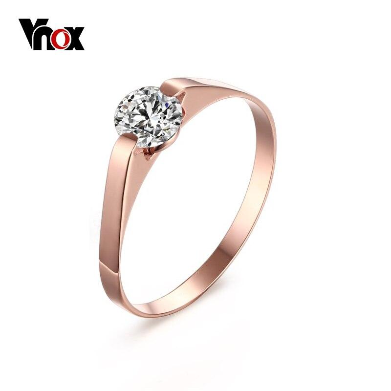 Vnox Women\'s Rose Gold Color Ring Trendy Cubic Zircon Stone ...