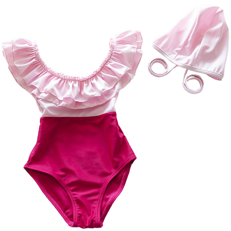 Baby Girls Swimwear Child Pink One Piece Falbala Swimsuit with Swim Cap Bathing Set Beach Wear for Girl 2 to 10 Years Old