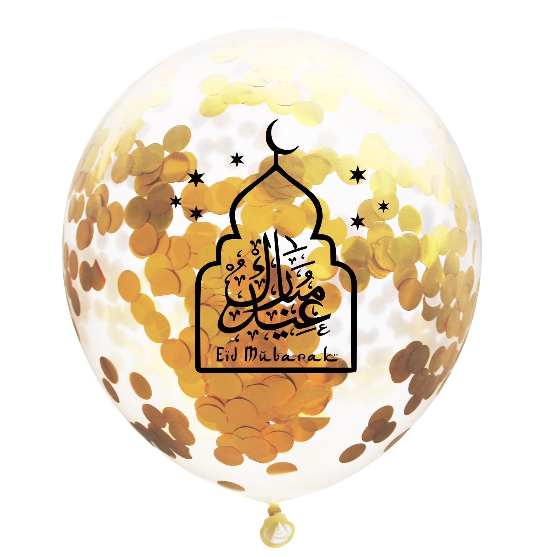 2019 EID MUBARAK Balloons Ramadan Decoration Eid Silver Ballon Helium For Muslim Eid For Party Air Ball Mixed Gold Confetti