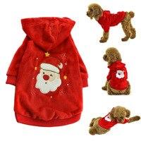 Invierno Perro Gato Ropa Para Mascotas Mascotas Ropa Para Perros de Navidad Papá Noel Traje Outwear chaquetas Con Capucha abrigos para perros invierno E5M1