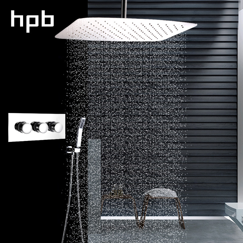 HPB Stainless Steel Shower Head Set Bathroom Shower System Thermostatic Valve Faucets Single Handle Chrome Polished HP2206b&d niko 50pcs chrome single coil pickup screws