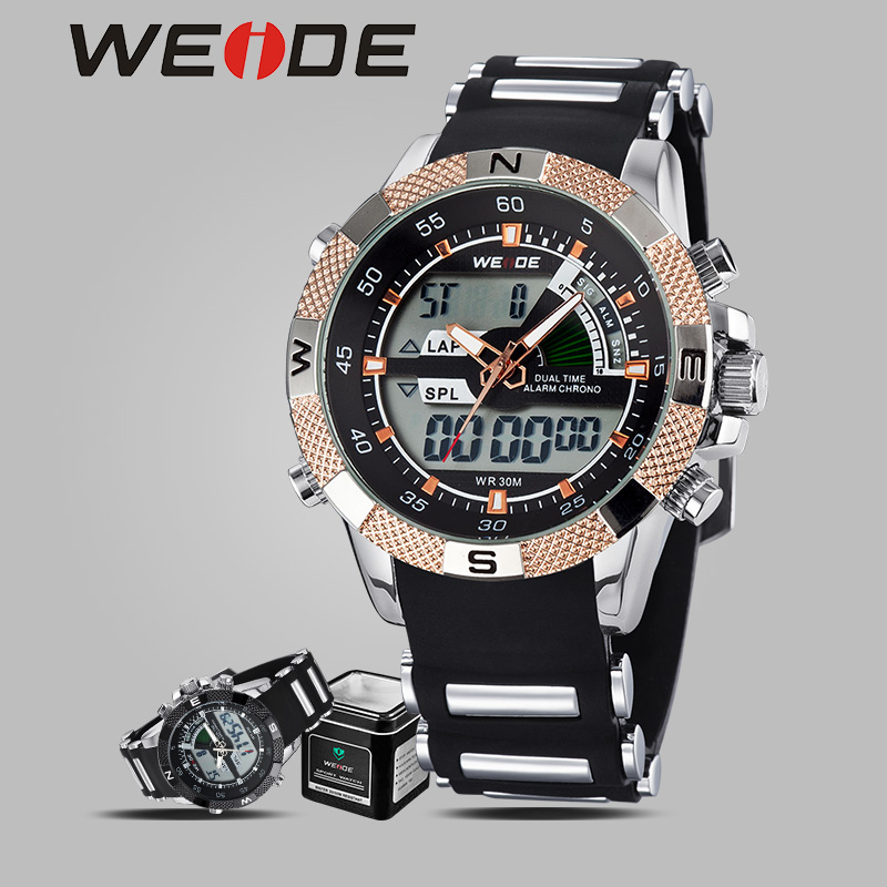 WEIDE luxury brand watches quartz clock camping shockproof waterproof sport watches men military Silicone digital with Watch box аккумуляторный триммер bosch art 23 18 li
