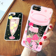 Cyato Cute Liquid Quicksand case for iphone X  Drink Bottle cover 6 6s plus Ice Cream bling capa 7 8