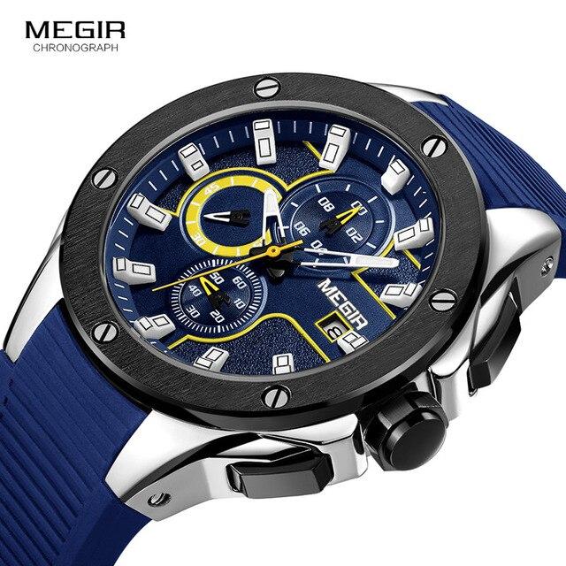 MEGIR erkek spor Chronograph kuvars saatler silikon kayış aydınlık su geçirmez ordu askeri kol saati adam Relogios 2053 mavi