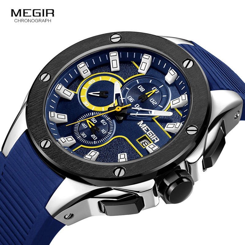 Megir Mens Chronograph Sport Round Analogue Quartz Wrist Watches Date Indicator Silicone Bracelet Strap 2053G Blue Black