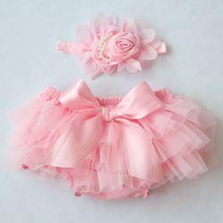 Детские хлопковые шифоновые шаровары с рюшами, милый детский подгузник, шорты с цветочным принтом для новорожденных, модная летняя одежда д...