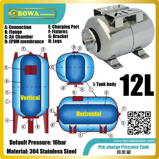 12L stainless steel pressure tanks make a pump pressure system constant in a corrosive or exposed environment