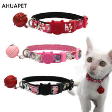 Fashion Necklace For Cat Luxury Cat Collars Bell Kitten Collar Gato Princess Supplies Printed Necktie Accessories For Gatos fashion cat collars