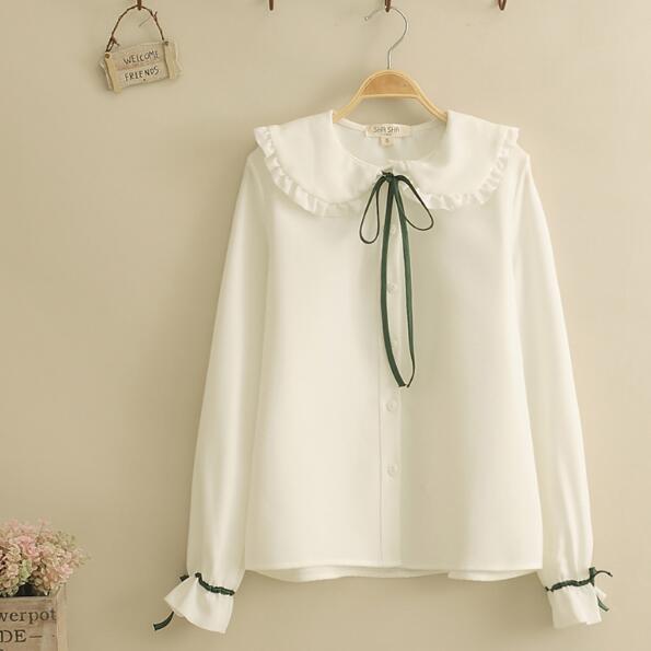 Sweet Lolita Shirt 2019 Mori Girls Autumn Spring Japanese Style Peter Pan Collar Long Sleeve White Red Lace-up Blouse Women's Clothing