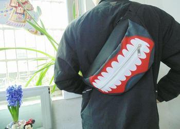 طوكيو الغول Sathel Kaneki كين أنيمي قناع أسود الصدر حقيبة قماش الخصر حزمة