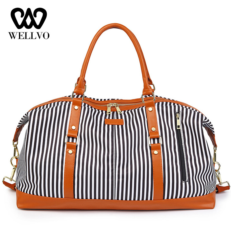 Striped Patchwork Travel Bag Women Traveling Tote Duffel Bags Big Weekend Bag Carry On Luggage Shoulder Overnight Bags XA731WB