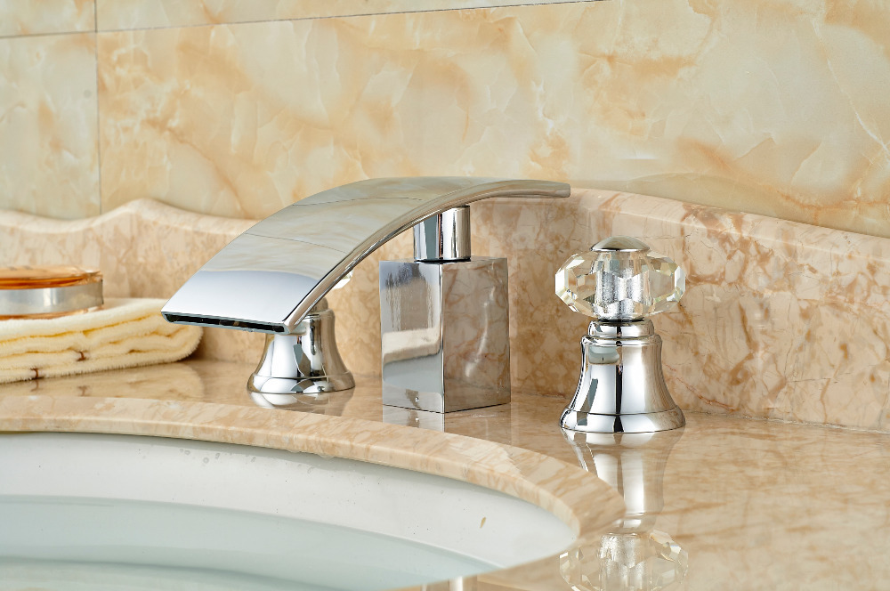 Luxury Chrome Brass Bathroom Basin Deck Mounted Sink Faucet Waterfall Mixer tap Crystal Handles 3PCS ouboni 3pcs set bathtub luxury golden plated bathroom faucet european split basin mixer tap ceramic faucet body cross handles