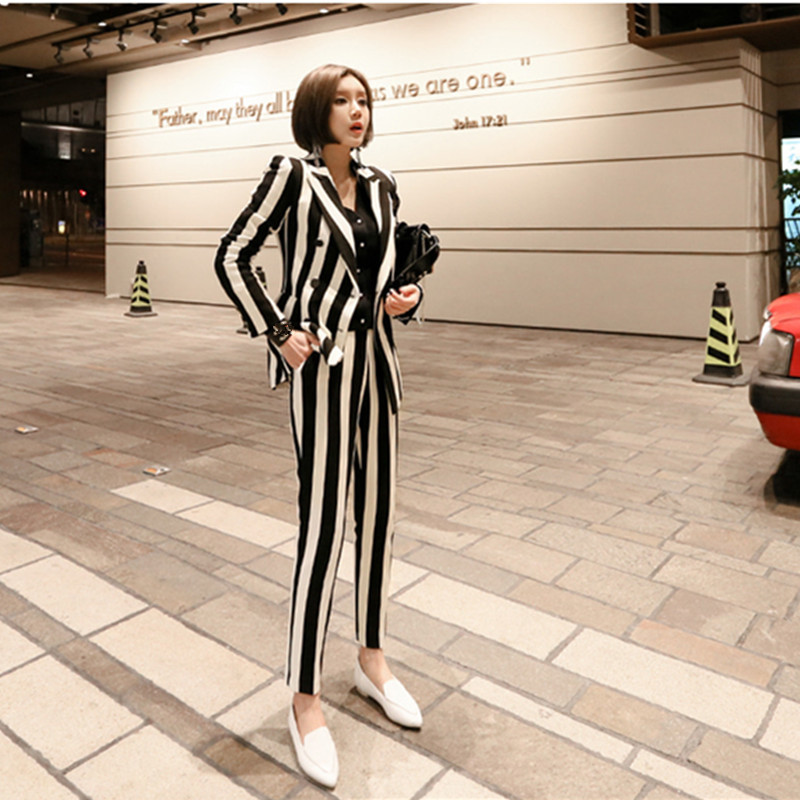 2018 New Runway Fashion 2 Piece set women's OL business office work wearing pant suits Pink Striped Top+pants women's suits
