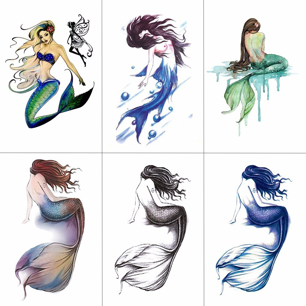HXMAN Mermaid Hippocampus Temporary Tattoo Sticker For Kids Hand Body Art 9.8X6cm Fake Women Waterproof Tattoo Paper A-022