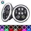 7 Inch LED Headlight RGB Halo Ring Angel Eyes 7 45W For Jeep Wrangler JK TJ