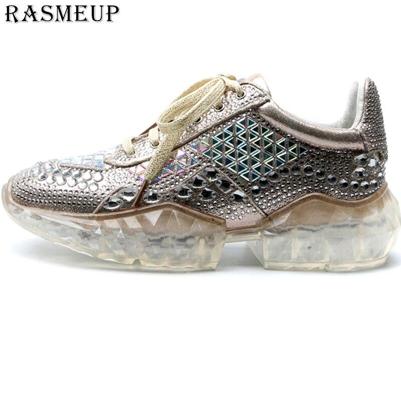 RASMEUP Women Crystal Glitter Sneakers Shoes 2019 Fashion Women s Platform Trainers Comfort Woman Rhinestone Shoes