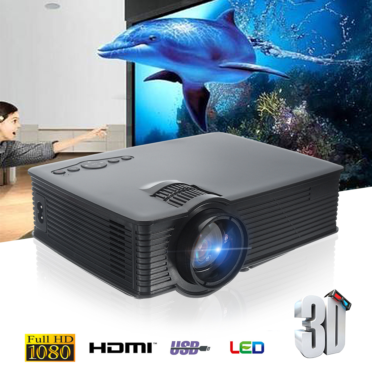 Thinyou GP-9 3000 Lumens WIFI LED Projector Black Mini Projector HDMI Digital Home Theater support multiple extensions great spaces home extensions лучшие пристройки к дому