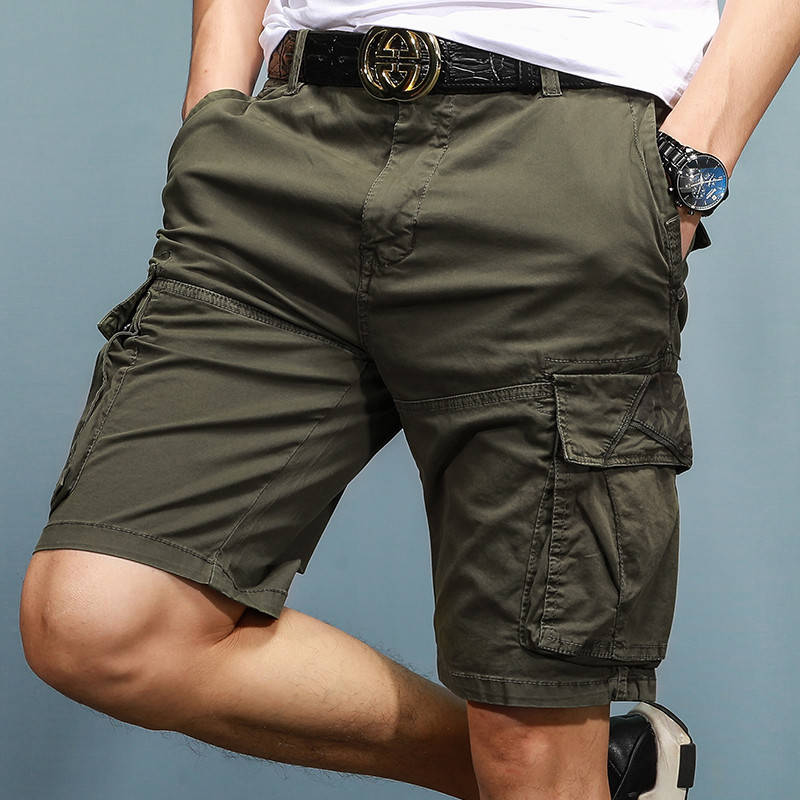[EL BARCO] 2018 New Arrival Cotton Many Pockets Casual Shorts Men Cargo Bermuda Zipper Solid Khaki Blue Grey Male Short Trousers