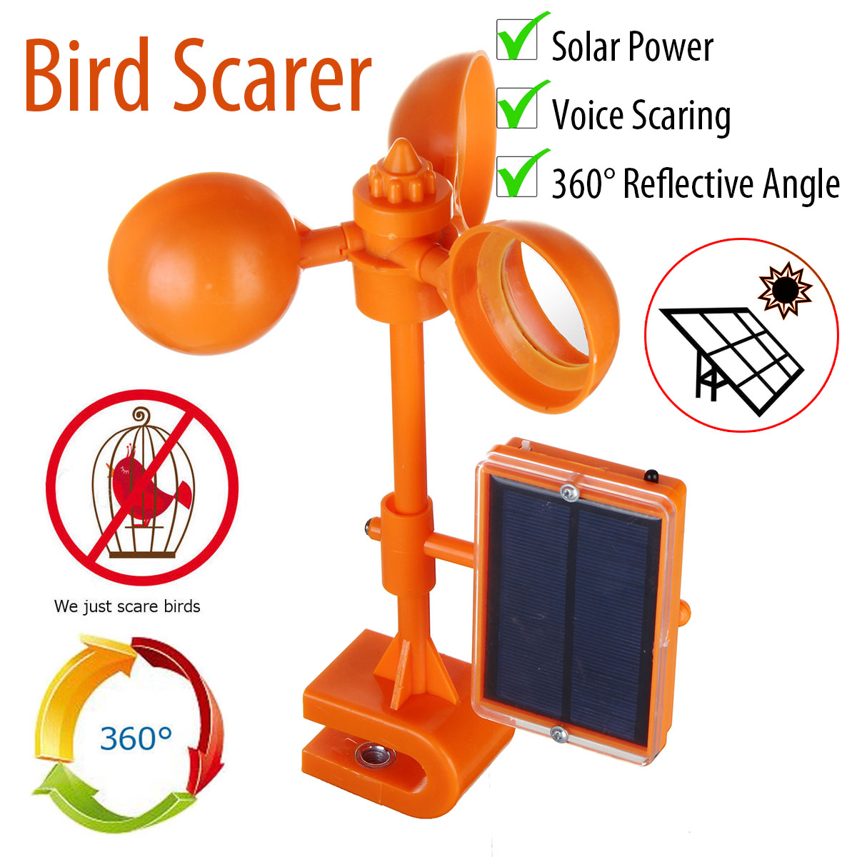 Solar Power Birds Repeller Voice Scarer 360 Degree Rotary Repellents Crows Deterrent Orchard Patio Garden Pest Control Supplies