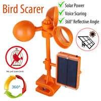 Energia solar aves repeller voz scarer 360 graus rotativo repelentes corvos dissuasor pomar pátio jardim fontes de controle de pragas