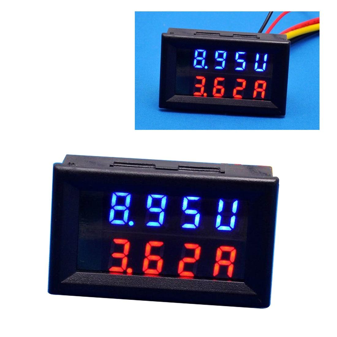 Dc 100v 10a 4 Bit Digital Voltmeter Ammeter Red Blue Led