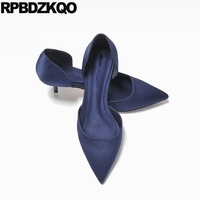 Satin Women Silk Scarpin Summer Evening Navy Blue Pumps Size 4 34 Footwear Chic Classic D'orsay Medium Sexy Shoes Pointed Toe