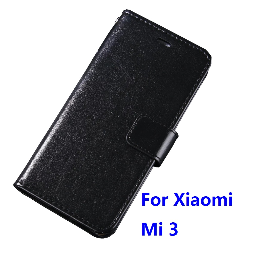 Case For Xiaomi Mi 3 Luxury Wallet PU Leather Case Stand Flip Card Hold Phone Cover Bags For Xiaomi Mi 3 With Plastic Holder