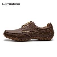LINGGE נעלי עור של הגברים 100% גודל עור אמיתי 40-45 נעלי גברים נעלי שמלת כלה בצבע חום עד נעלי אוקספורד #530-2