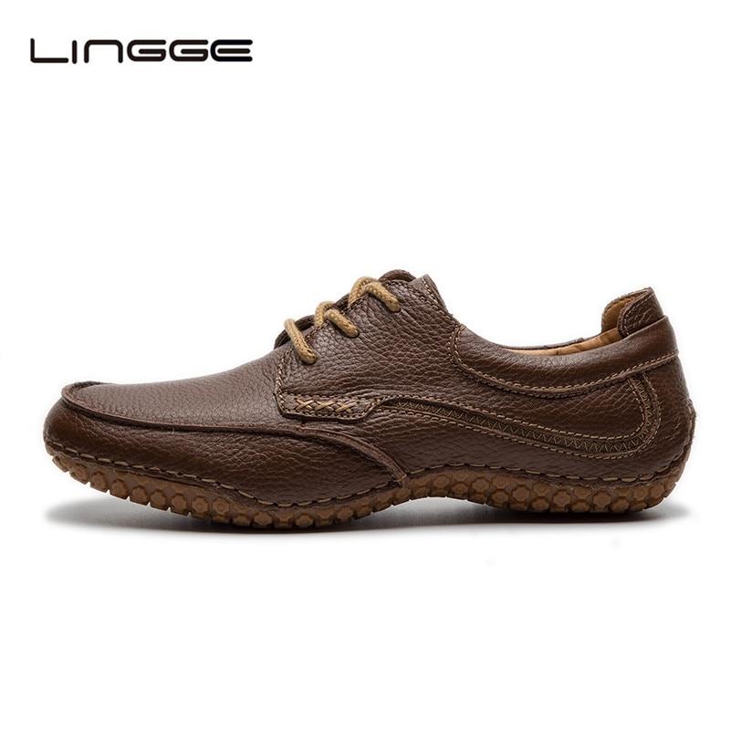 LINGGE Hommes En Cuir de Chaussures 100% En Cuir Véritable Taille 40-45 Hommes Chaussures BRUN De Mariage Robe Chaussures Dentelle-up Oxfords #530-2