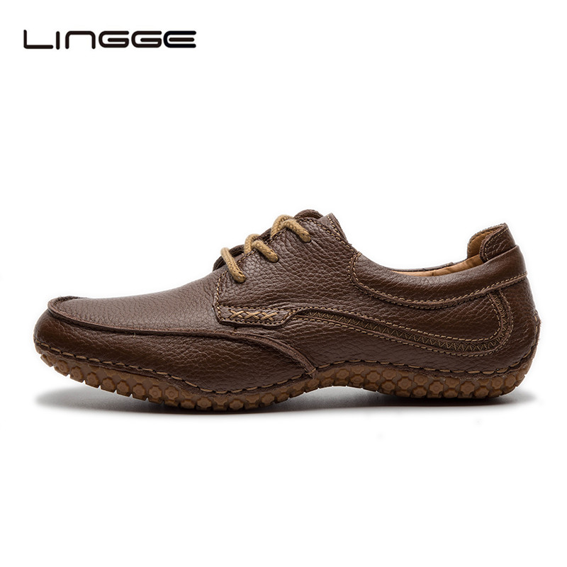 LINGGE Men's Leather Shoes Big Size 40-45 Men Shoes Brown Casual Dress Shoes Lace-up Oxfords #530-2 foreada genuine leather shoes women flats round toe lace up oxfords shoes real leather casual boat shoes brown pink size 34 40