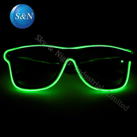 5pc/Pack Hot sale El Wire Neon LED Light Glasses Shutter Shaped Fashion Eyewear For Rave Parties Costume