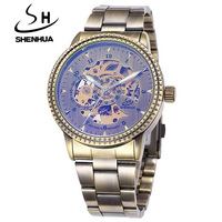 2015 Shenhua Vintage Mechanical Watches Men Fashion Retro Bronze Full Steel Skeleton Automatic Mechanical Watch Reloj