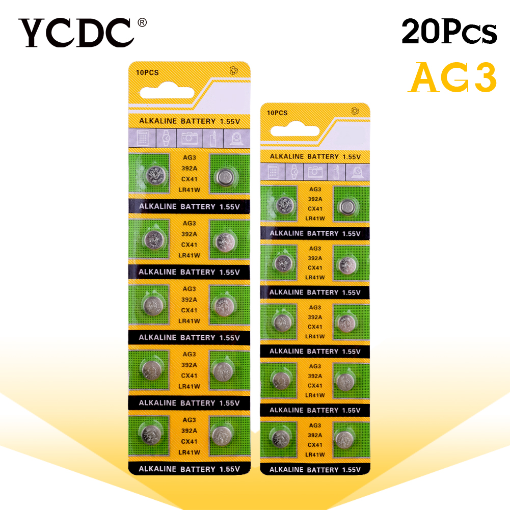 20pcs/2cards Ag3 For Watch Toys Remote Cell Battery Limited 392 1.5V LR41 192 SR41 Li-ion CoCell Batteries Size 7.9*3.6mm