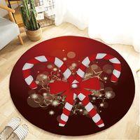 Christmas Cartoon Round Carpet Area Rug Flannel Non Slip Floor Mat Carpet For Living Room Kitchen Doormat New Year Home Decor