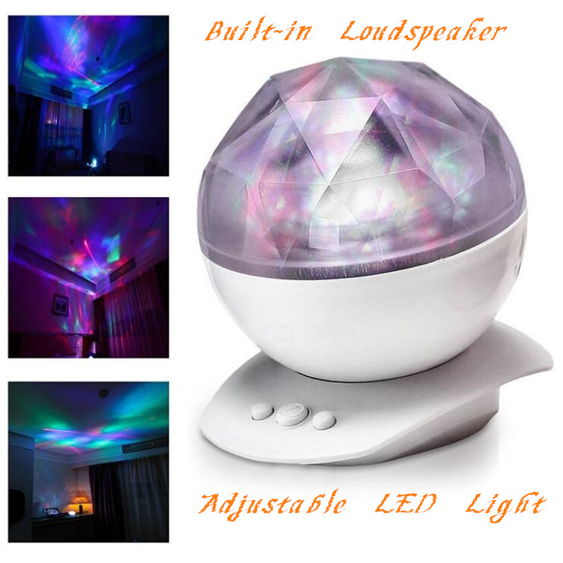 9 Color Starry Drill Projector Ocean Wave Aurora Diamond Music Laser Night Projection Lamp Northern Lights Audio USB Lap Speaker