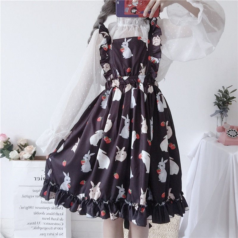 Women sweet Lolita dess Girl cute rabbit black dress strawberry ruffled bubble Dress Puff princess dress dots chiffon shirt