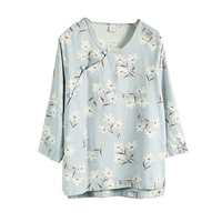 Spring Summer Women Cotton Linen O Neck Half Sleeve Cardigan Blouse Vintage Casual Flower Loose Button