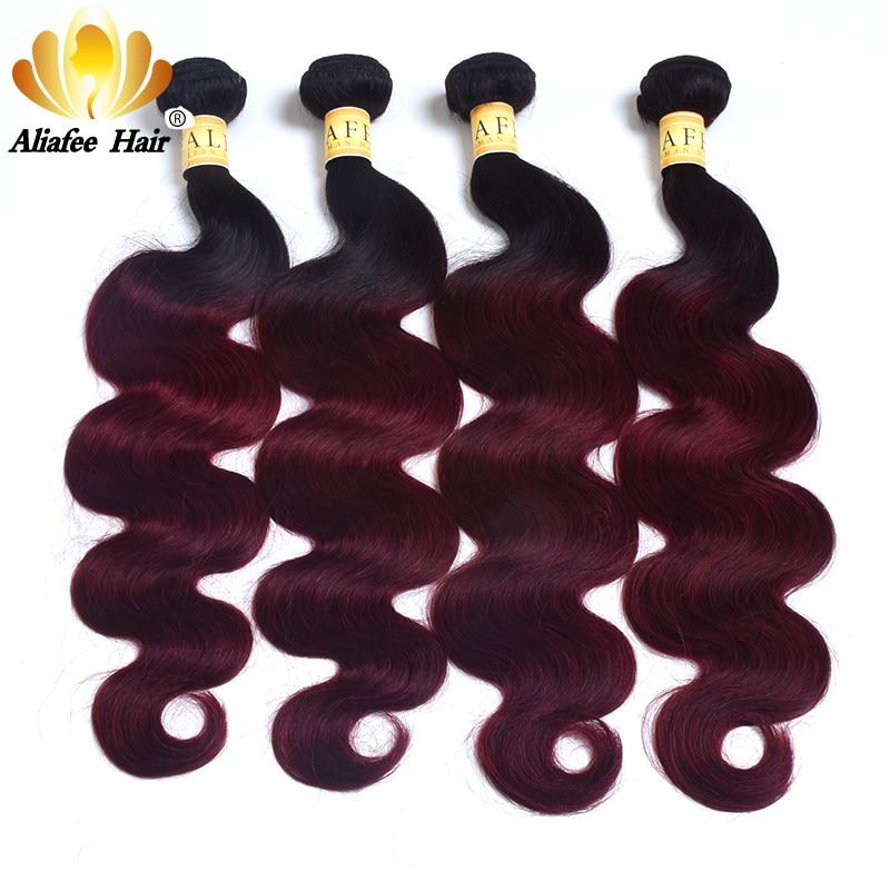 Ali Afee Hair Burgundy Brazilian Body Wave Pre-colored Bundle Pack 1B/99J Ombre Hair Bundles Remy Hair Weave 100% Human Hair