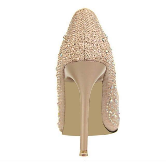 Hot 2018 Spring Autumn Women Pumps Sexy Black Gold Silver High Heels Shoes  Fashion Luxury Rhinestone d2edf5664c01