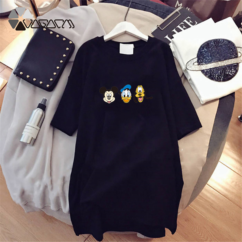 Summer Dress M 4XL Women Vestidos Mickey mouse Casual Loose Short Sleeve Cute Cartoon Dresses Donald Duck Mini Plus Size Dress in Dresses from Women 39 s Clothing