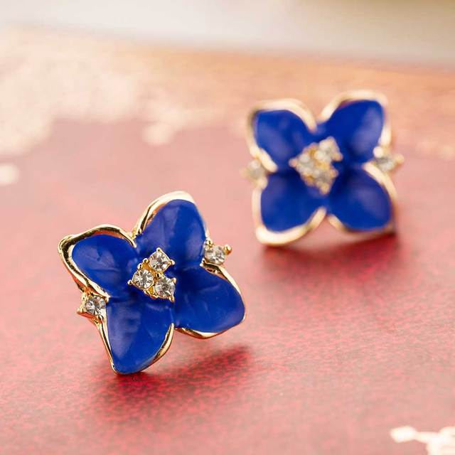 2016 new elegant noble blue flower ladies gold plated rhinestone earrings piercing Brinco women free shipping E5