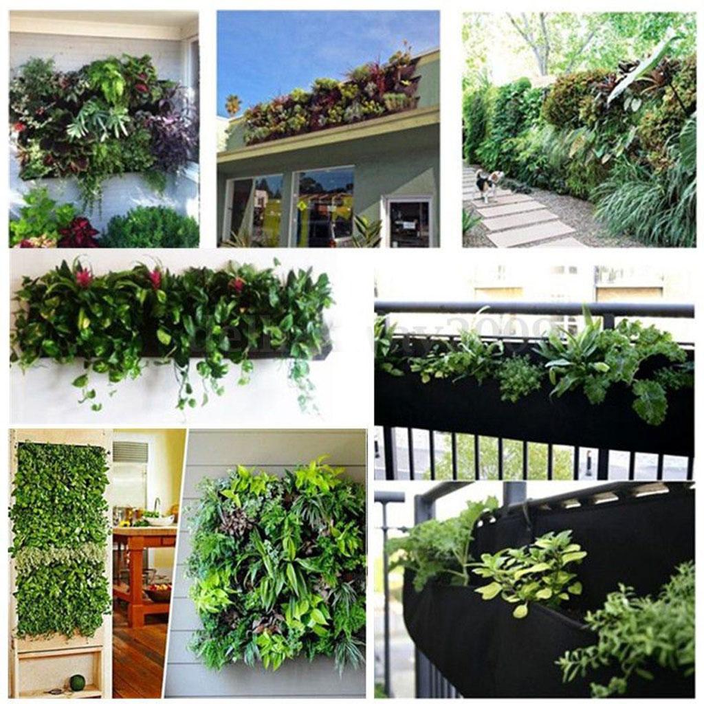 2017 4 poches suspendues horizontale jardin mur planteur pousser sac intérieurextérieur herbe pot légumes