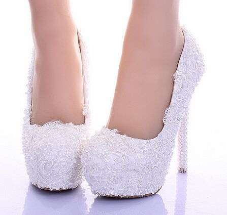 14 cm matrimonio zapatos zapatos de encaje blanco puro pearl novia