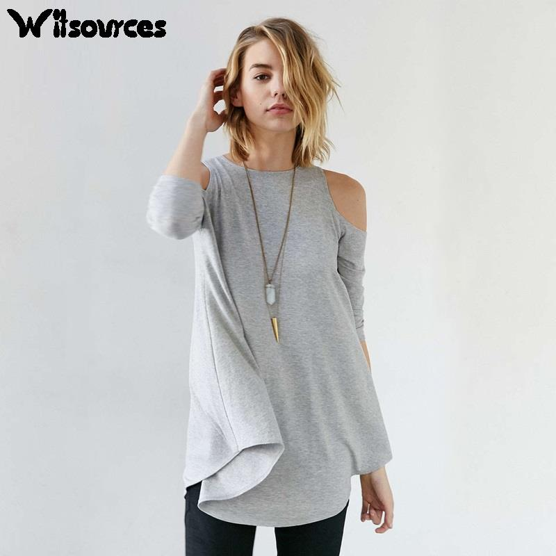2016 Spring new fashion women long sleeve t-shirt preppy style student plus size loose sexy off shoulder casual t shirts ST2284