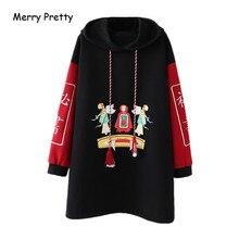 Merry Pretty Women Letter Embroidery Long Hooded Sweatshirts 2019 Winter Sleeve Hoodies Cartoon Printed Black Pullovers