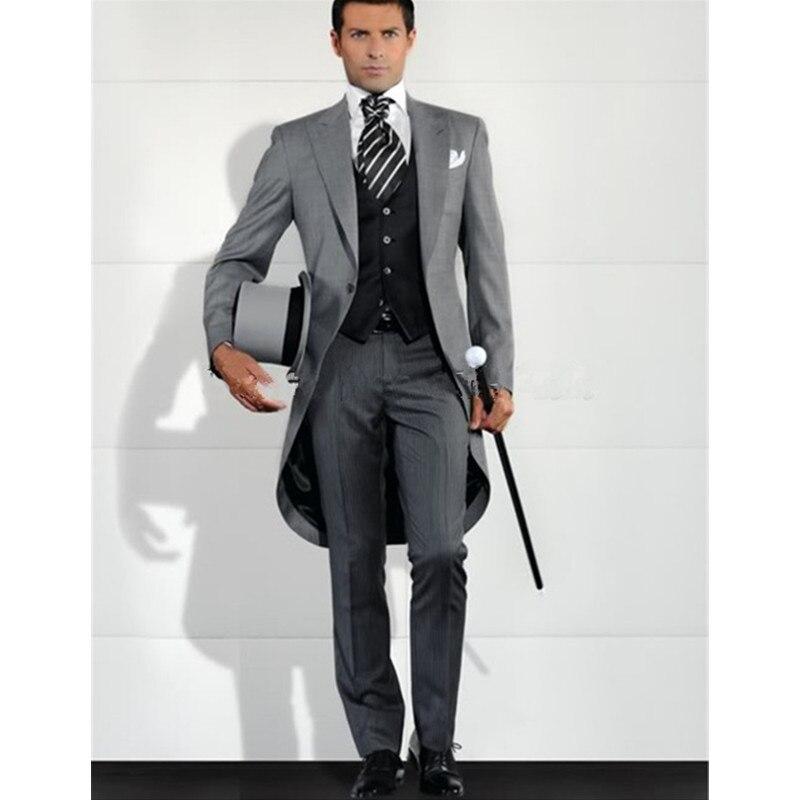 Beautiful Grey Men Blazer Tailcoat Groomsman Long Mens Wedding Suit (jacket+pants+vest) Men Suit Set Man Suit Tuxedos For Prom Dinner 2018 Activating Blood Circulation And Strengthening Sinews And Bones