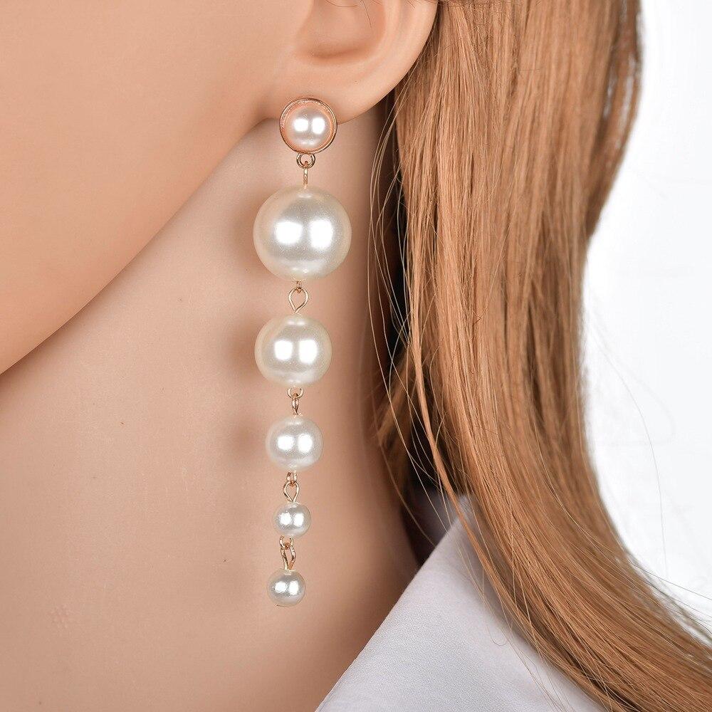 Europea And America Luxury Fashion Simple Imitation Pearl Long Dangle Earrings Size Pearl Tassel Drop Earrings For Women Jewelry