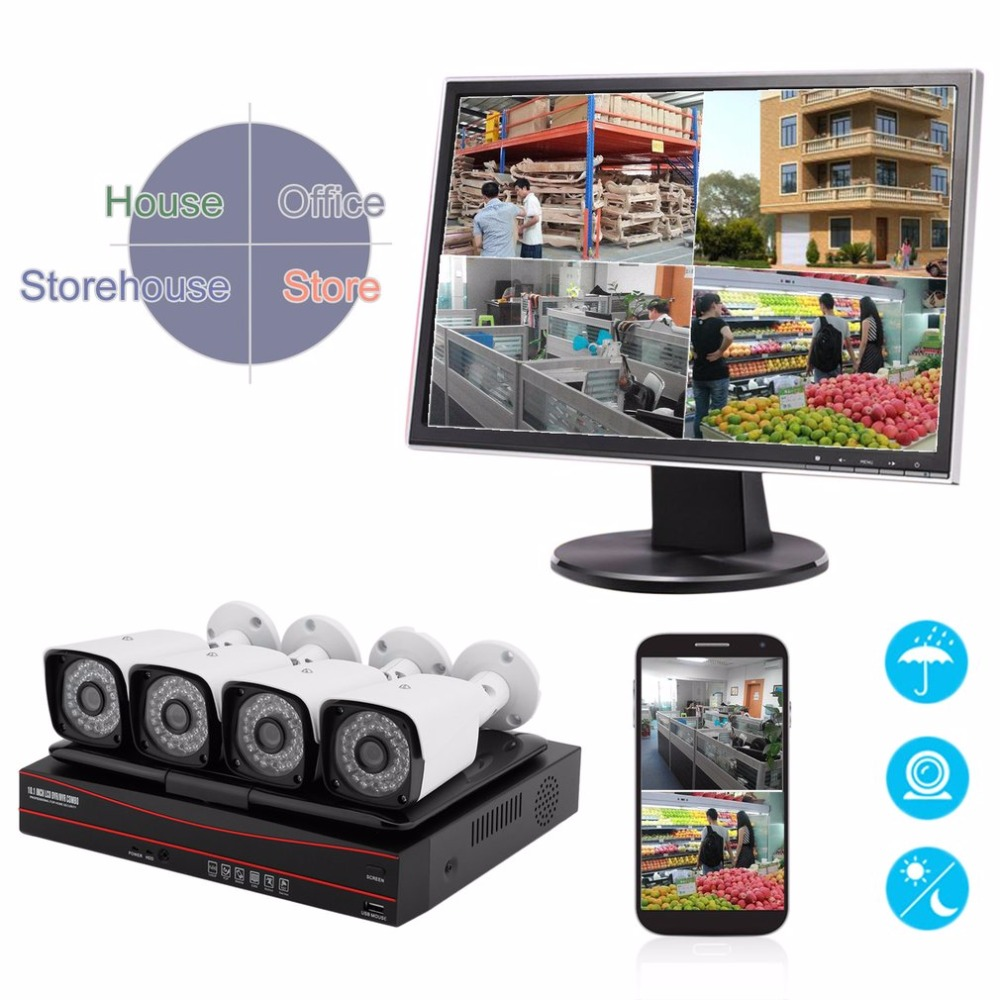720P Wireless AHD IP Camera set 4CH 10.1 Inch 1MP Surveillance security camera system NVR kit Rear Panel Screen Set Night Vision ...