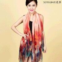 100 Silk 180cm 110cm Length Women S Elegant Inkjet Pure Silk Scarves Scarf Shawl
